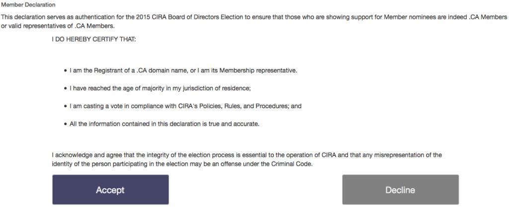 CIRA 2015 Elections - Confirm Member Declaration